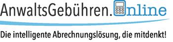 Logo: AnwaltsGebühren.Online - Die intelligente Abrechnunslösung, die mitdenkt!